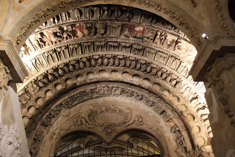 A Romanesque portal in San Martín Church, Salamanca, Spain