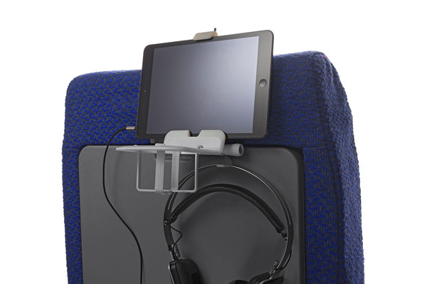Flying economy just got easier with The Airhook. It keeps your drink from spilling and your ipad, tablet or iphone at eye level. You'll find it in my travel carryon.