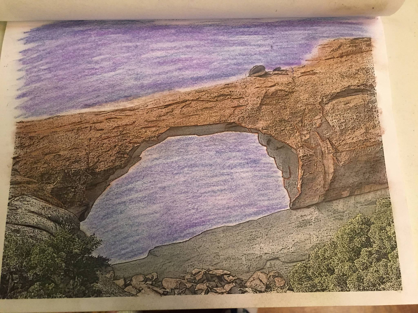 Remember trips to Arches National Park by coloring the Skyline Arch coloring page in Coloring the West, An Adult Coloring Book for Travelers.