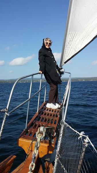 Vera Marie Badertscher on the Amoeba sailing Bras D'or Lake in Nova Scotia. What a fun boomer travel adventure!