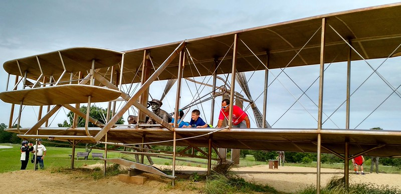 A replica of the Wright Brothers wooden plane
