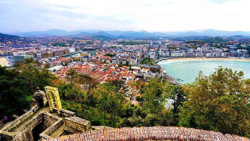 Looking at the city view from Monte Urgull in San Sebastian, Spain