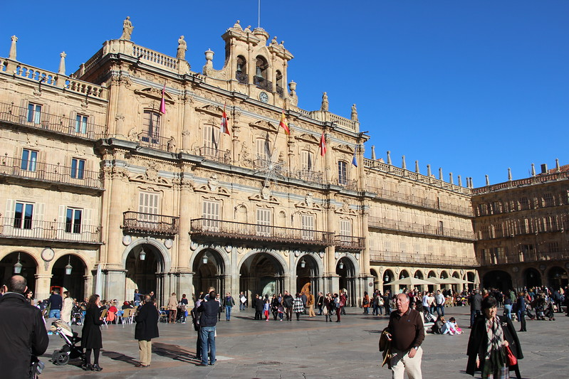 Tourists walk the Plaza Mayor, one of many things to do in Salamanca.