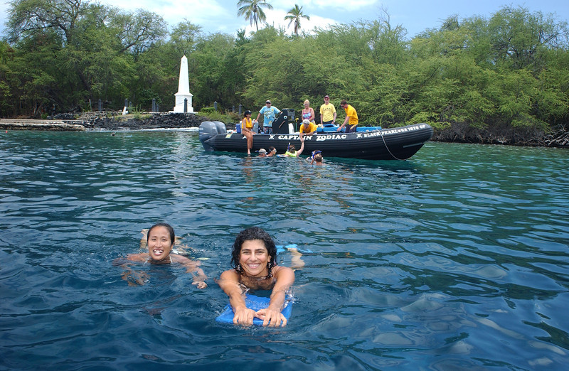 Snorkelers in the water near Captain Cook Memorial on the Big Island of Hawaii.