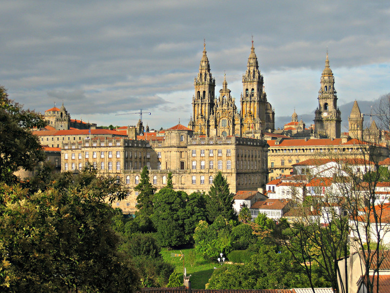Visit the cathedral in Santiago de Compostela on a road trip through Spain's Lower Rias.