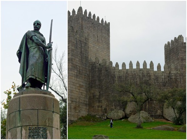 Statue of King Afonso Henriques and the Castelo de Guimarães on a walking tour of Guimarães.