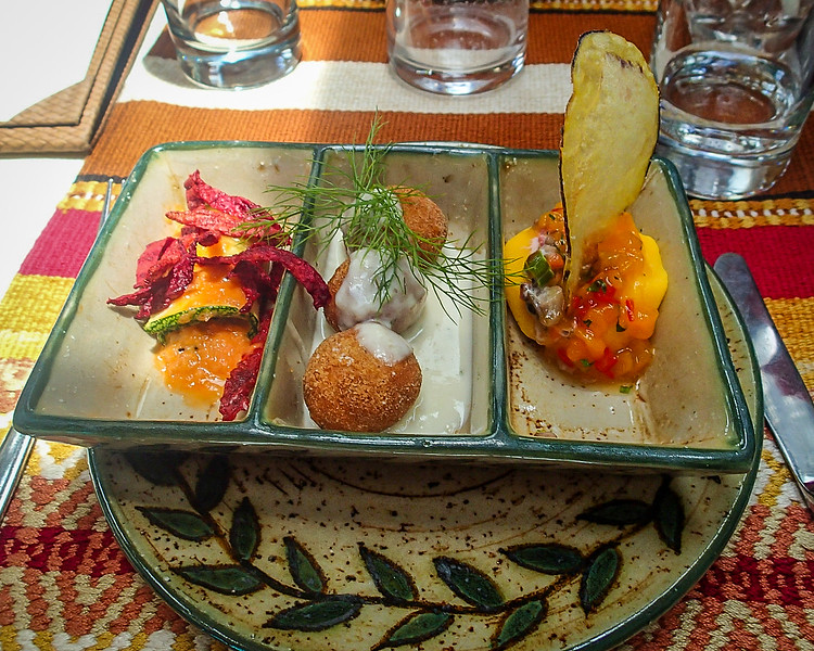 Colorful plates of Tapas on the luxury train to Aguas Caliente