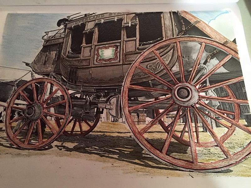 Remember the West with a stagecoach ride in Coloring the West, An Adult Coloring Book for Travelers. It's a fun way to relax!
