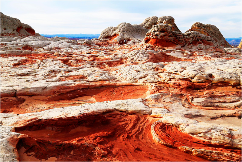 white and orange sandstone formations