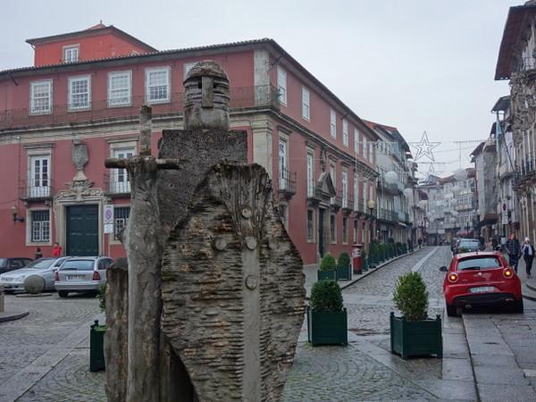 Statue of King Afonso Henriques by João Cutileiro in Guimaraes, Portugal.