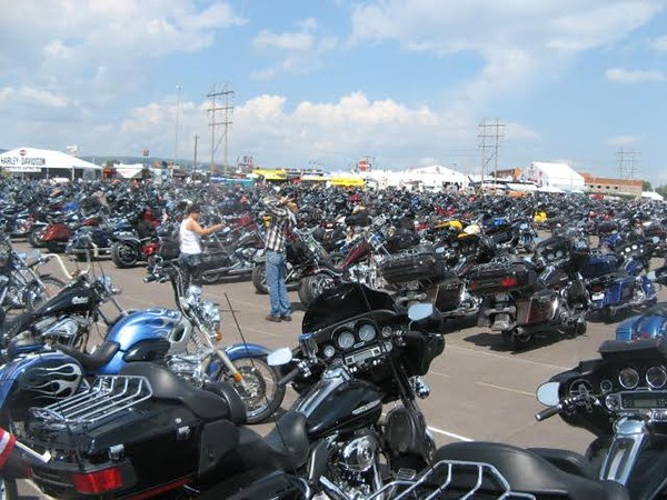 Thousands of motorcycles parked in Sturgis